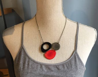 Red black gray necklace