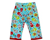 On SALE 75% OFF Robot  Baby - Robot Pants - Blue Pants - Red Pants - Boy Pants - Baby Pants - Cotton Pants - Flannel Pants - 6m - Baby Cloth