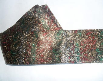 Paisley Foil Gold Red Black wide flat Ribbon