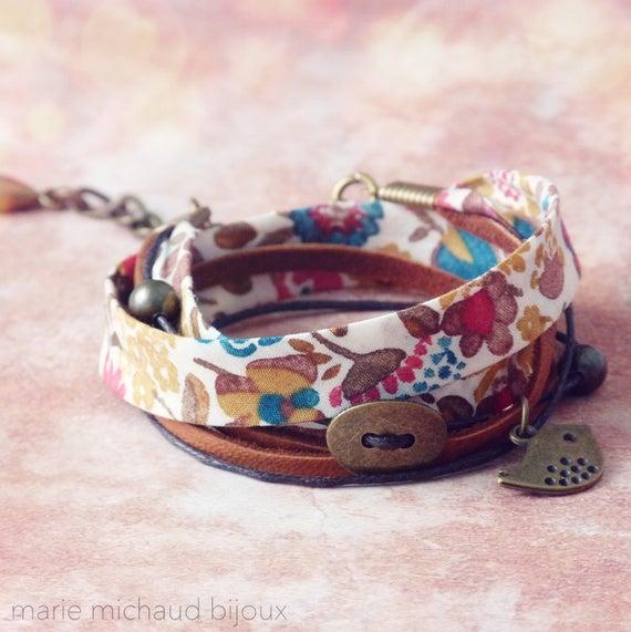 Liberty bracelet,Wrap bracelet,Double wrap bracelet,Cuff bracelet,Liberty jewelry,Colorful bracelet,Boho bracelet,Cadeau pour elle
