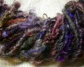 Handspun Hand  Dyed Bulky Mixed Longwool Curly Textured Art Yarn in Pink Red Wine Purple by KnoxFarmFiber for Knit Weave Embellishment