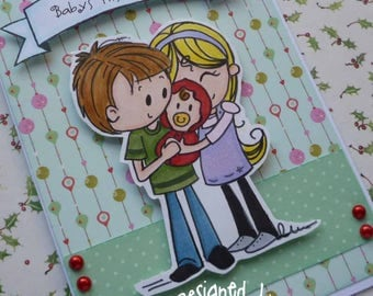 Baby's First Christmas - Handmade blank greeting card with sweet family