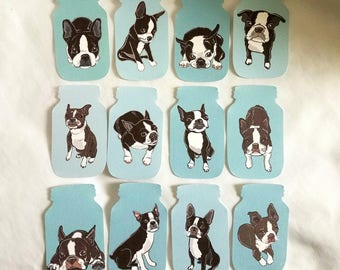 Mason Jar Boston Terrier Collection - Eco-friendly Set of 12 - Scrapbooking Embellishment
