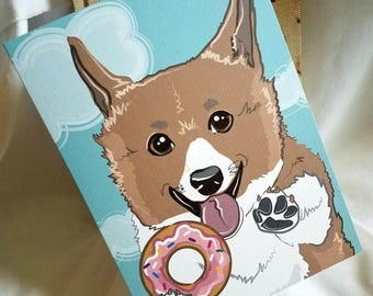 Corgi Donut Greeting Card