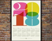 2018 calendar, Mid Century Modern poster, retro kitchen art, office art print, Eames era, typography poster, graphic design, 50 x 70 poster