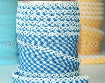 FINAL CLEARANCE SALE Double fold picot crochet edge bias tape, crochet bias tape, lace bias tape, blue bias tape, jeans blue bias tape, ging