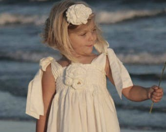 White Flower Girl Dress - Little Girls - Toddlers - Beach Wedding - Maxi Dress - Country Wedding - Boutique Clothes in sizes  3T to 8 yrs