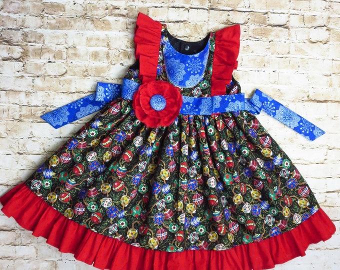Christmas Dress - Girl Dress - 1st Christmas - Ruffle Dress - Toddler Christmas - Baby Christmas - Baby - Handmade Christmas -6 mo to 8 yrs