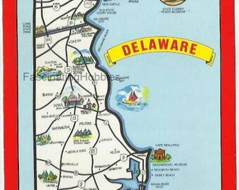 DELAWARE - VINTAGE Fancy MAP- Diamond State- the First State - Photo Pulling -State Flower/Peach Blossom, State Bird/Blue Hen Chicken - Mint