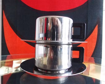 vintage Italian Design Inox Casalinghi espresso coffee cups / set of two small cups and saucers Italy