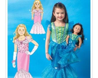 "Girls & 18"" Dolls' Mermaid Costumes, Sewing Pattern, McCalls M7175 Sewing Pattern,  Fantasy Costumes - Sizes: 3/4 -5/6 -7/8"