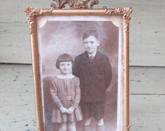 Brother of Mine - Vintage Photograph of Boy & Girl In 1930's Gilt Fancy Corners Photograph Frame