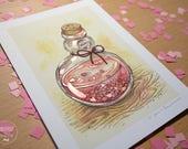 Bottle - HAND EMBELLISHED Fine Art Print
