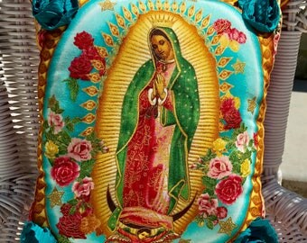 Virgen de Guadalupe VIRGIN MARY PILLOW Teal Rosettes Ready-to-Ship