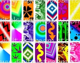 Colorful Abstracts Digital Collage Sheet 35 Different 1x2 Inch Domino Images Scrapbooking