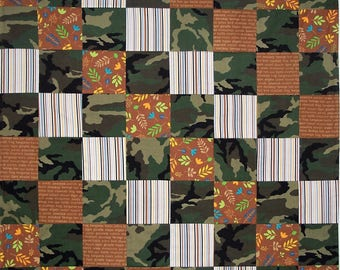 Camoflage Patchwork Blanket, Quilt, Baby Blanket, Crib Quilt, Lap Quilt, Fleece Back Quilt, Made in America