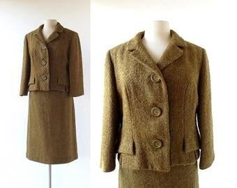 20% off sale Vintage 1950s Suit | Boucle Wool Suit | Women's Suit | Medium M