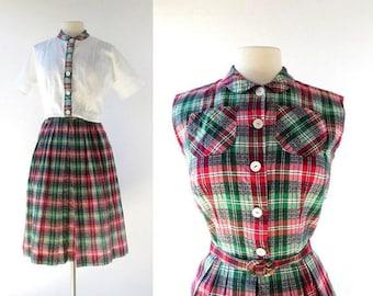 20% off sale Plaid 50s Dress | Tic Tac Toe | 1950s Dress with Jacket | XS