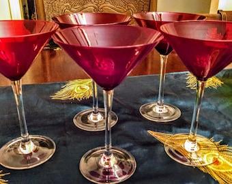 Vintage Ruby Red Glasses | Luminarc Cavalier Set of Five Vintage Martini Glasses | Red Glassware