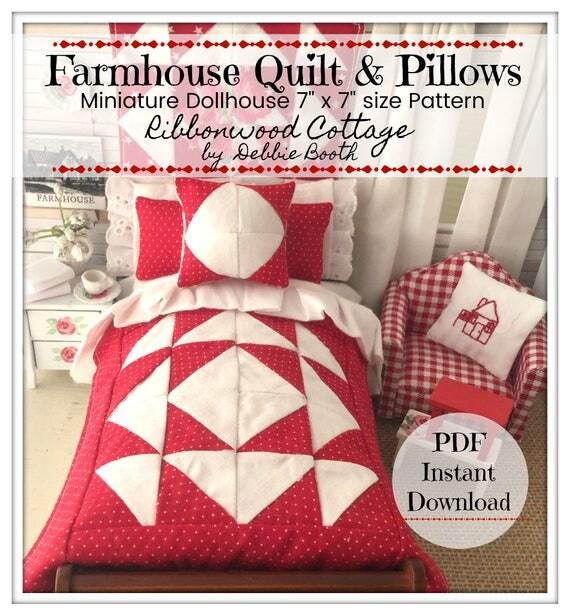 "Farmhouse Quilt and Pillow PDF Pattern - Dollhouse Miniature Size 7"" x 7"""