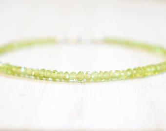 all peridot gemstone bracelet. lime green peridot. thin peridot bracelet. august birthstone. gemstone peridot beaded bracelet