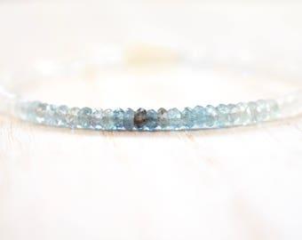 moss aquamarine & moonstone bracelet. gemstone bracelet. rainbow moonstone and shaded moss aquamarine. blue muted green and white bracelet