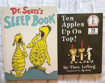 2 Vintage Dr. Seuss Books Ten Apples Up On Top And Dr. Seuss's Sleep Book, Gift, Collectible