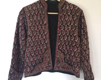 Vintage indian cotton jacket floral printed gauze