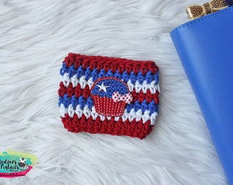 7 Dollar Sale 4th of July Coffee Cup Cozy { Patriotic Cupcake } red, white blue Stars Summer Coffee sleeve, starbucks cup