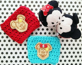 Mouse Ears Crochet cup cozy { Waffle Mouse } breakfast food, cup sleeve, park essentials knit mug sweater starbucks, vacation