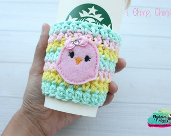 Easter Crochet Coffee Sleeve { Chirp Chirp } candy pink, mint animal, spring cup cozy, knit mug sweater, starbucks gift, frappuccino holder
