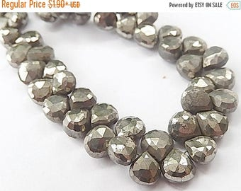 SALE Faceted  Pyrite  Heart Briolette Gemstone. 8mm. Semi Precious Gemstone. Pairs or Non Matching 1 to 9 Briolettes  (55py)