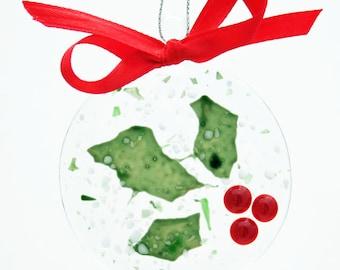 Glassworks Northwest - Elegant Holly - Fused Glass Ornament
