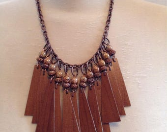 Wood veneer necklace