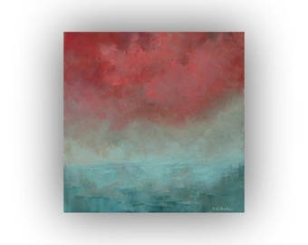 Original Seascape Oil Painting- Small 12 x 12 Pink and Blue Ocean Painting- Sky and Clouds Palette Knife Art on Canvas