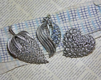 Vintage BROOCH (3)- Silvertone PINS- Coro Signed Pin- Flora- Silver Colored Brooches Costume Jewelry- Craft Supply