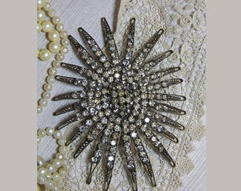 Vintage RHINESTONE Jewelry- Huge Brooch Pin- Antique Sparkle- Antique Jewelry- Deco Pin- Glam Sparkle Jewelry