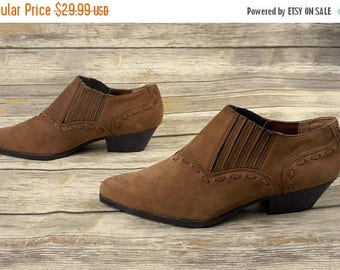 Womens 8.5 M Chilis Ankle Boots Cowabunga Tan Brown Nubuck Leather Western Shoes