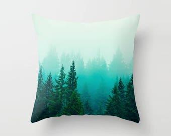 Ombre Forest Pillow, Tree Pillow, Foggy Woods Pillow case, northwest landscape, decorative photograph, green home decor, soft bedding