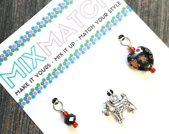 MIX MATCH - Charm Batch 9 - Black Faceted Glass Bead With Red Accents, Cute Silver Dog Charm, Black Millefiori Heart Bead