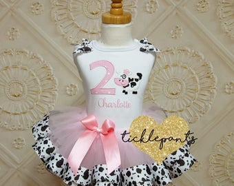 For all sizes - Cow Birthday Tutu Outfit - Farm - Cow print and pink - Includes top and ruffled tutu -  More colors/animals available
