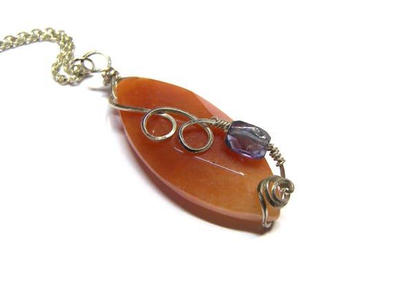 ON SALE Today Carnelian Pendant Iolite Pendant Top Selling Jewelry Marquise Pendant Wrap Pendant Sterling Silver Pendant Unisex Pendant