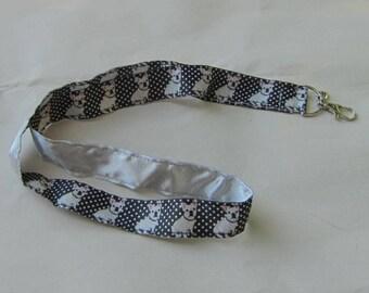 Handmade Grosgrain & Satin Ribbon Dog FRENCH BULLDOG Lanyard/Keychain/Badge Holder w/Metal Charm