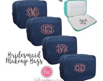 7 bridesmaid makeup bags , waffle makeup bag, monogrammed bag, wedding bag , bridesmaid gifts , personalized bridesmaid gifts
