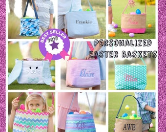 Easter basket etsy personalized easter baskets monogrammed easter basket easter bucket kids egg hunt tote negle Image collections
