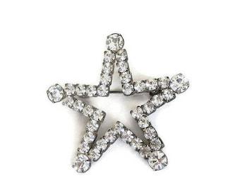 Clear Rhinestone Star Brooch Vintage