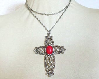 Large Gothic style Red Stone Cross Pendant Necklace with Rhinestones Vintage Goth