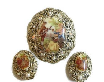 SALE Victorian Revival Porcelain Fragonard Brooch and Earrings Set with Courting Couple Cameo Vintage