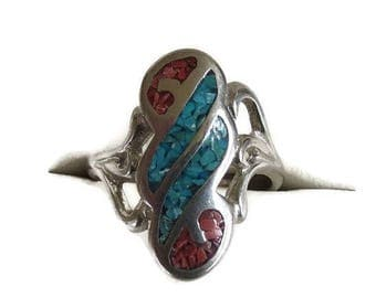 SALE Southwest Turquoise & Coral Chips Ring Open Work Vintage Size 8.5