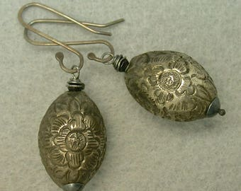 Antique Chinese Qing Silver Bead Ornate Etched Oval Earrings  Qing Dynasty Dangle Drop ,Handmade Sterling Ear Wires - GIFT WRAPPED